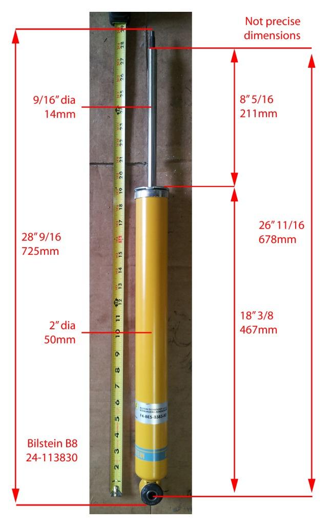 Bilstein B6 B8 Measurements Vs Stock