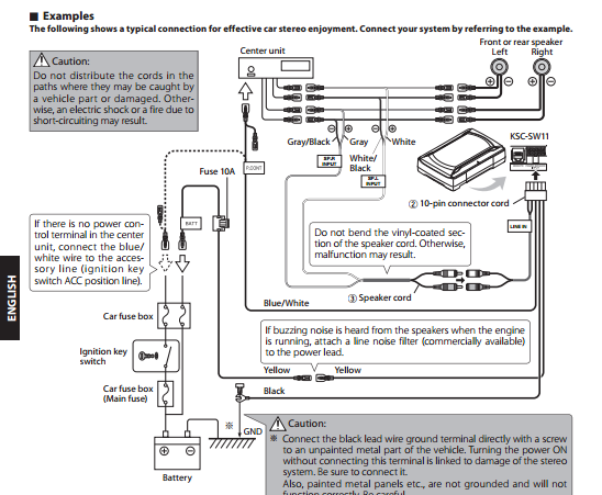Wiring Diagram For 8 Subwoofers : Kenwood ksc sw powered sub wiring