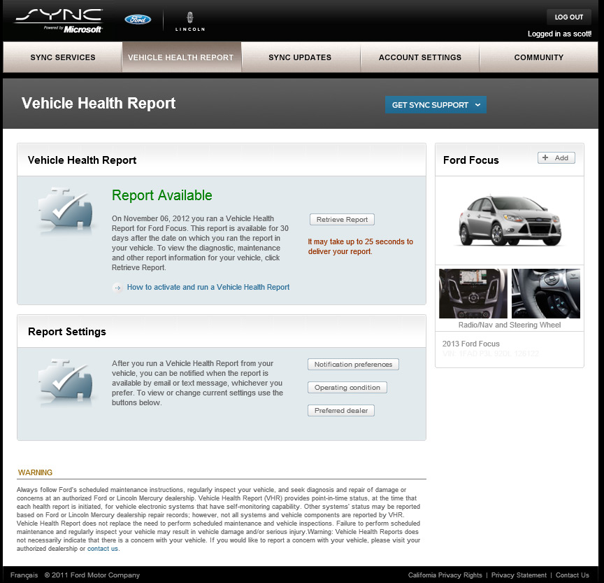 ford health report Vehicle Health Report?